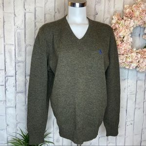 Polo RL Lambs Wool V-Neck Sweater Pullover M